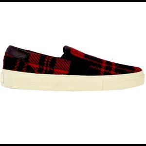 Authentic Saint Laurent Plaid Slip-on Sneakers